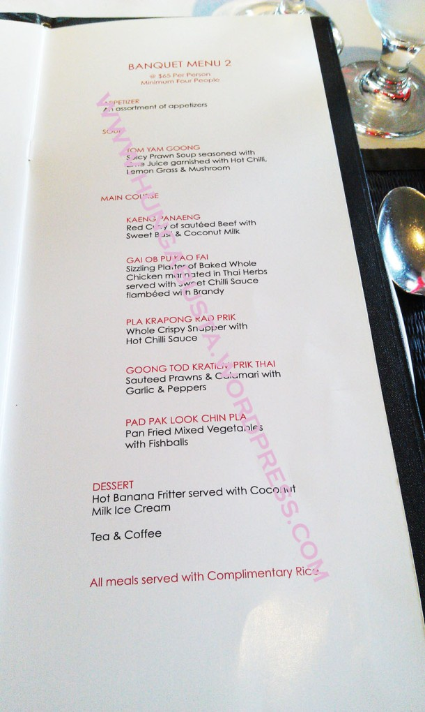 Red Elephant menu